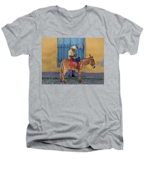 Man And A Donkey Men's V-Neck T-Shirt by Lynn Bolt