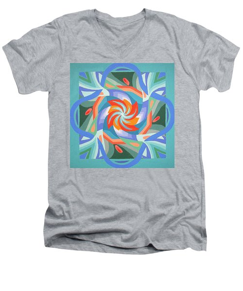 Men's V-Neck T-Shirt featuring the painting Mandala by Rachel Hames