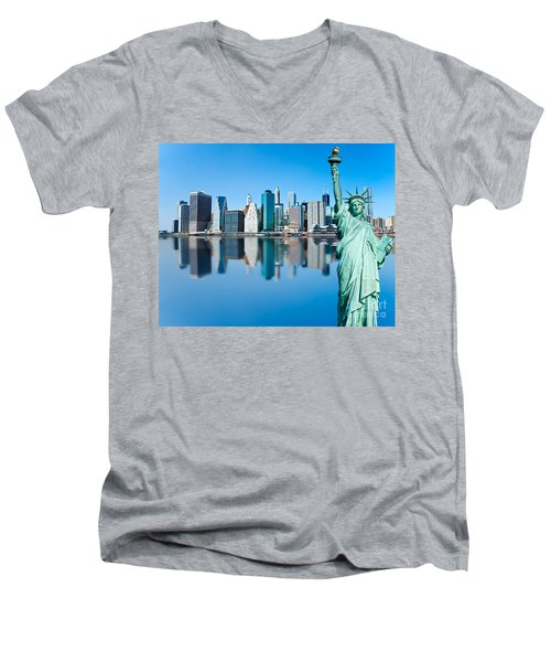 Men's V-Neck T-Shirt featuring the photograph Manhattan Liberty by Luciano Mortula