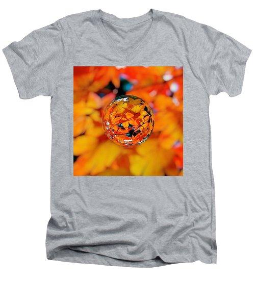 Marbled Orange Maple Leaves Men's V-Neck T-Shirt
