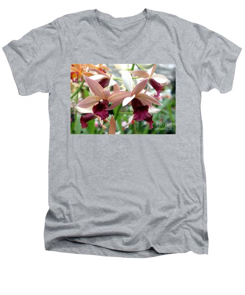 Men's V-Neck T-Shirt featuring the photograph Maroon Bloom by Debbie Hart