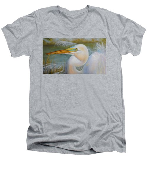 Men's V-Neck T-Shirt featuring the painting Marsh Master by Marlyn Boyd