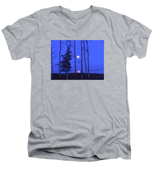 Men's V-Neck T-Shirt featuring the photograph May Moon Through Birches by Francine Frank