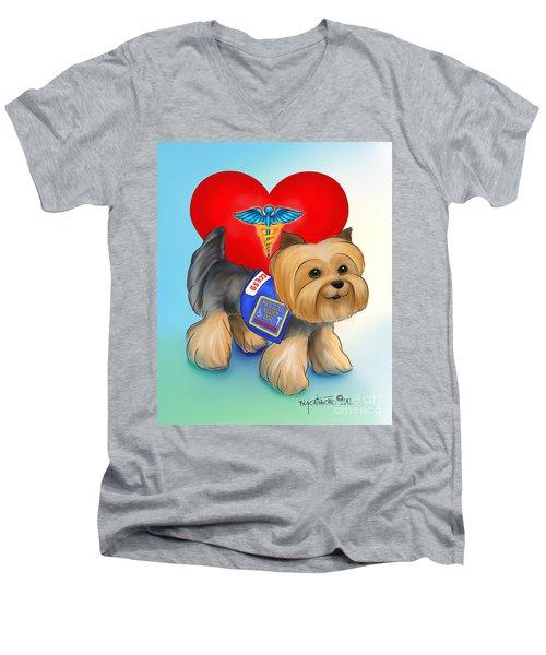 Medical Alert Yorkie Men's V-Neck T-Shirt by Catia Cho