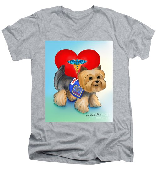 Medical Alert Yorkie Men's V-Neck T-Shirt