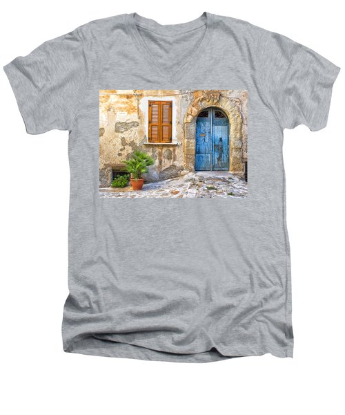 Mediterranean Door Window And Vase Men's V-Neck T-Shirt by Silvia Ganora