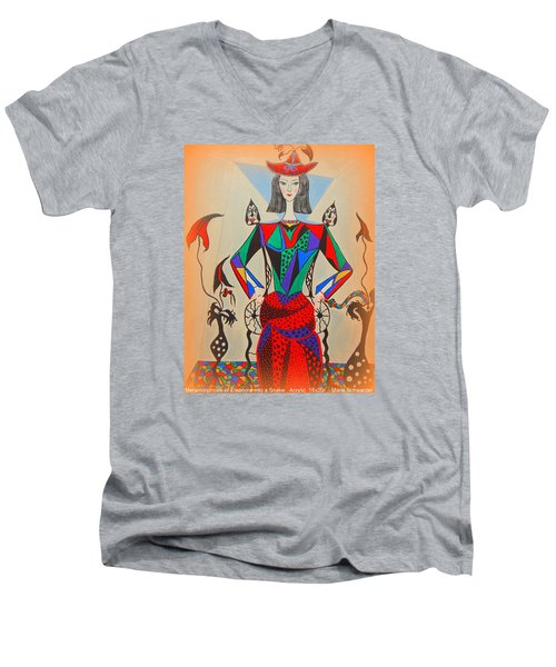 Men's V-Neck T-Shirt featuring the painting Metamorphosis Of Eleonore by Marie Schwarzer