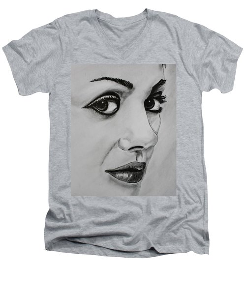 Men's V-Neck T-Shirt featuring the drawing Mila by Michael Cross