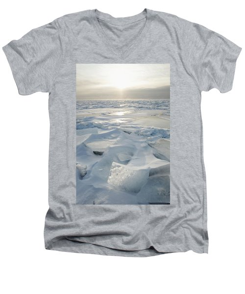 Men's V-Neck T-Shirt featuring the photograph Minnesota, United States Of America Ice by Susan Dykstra