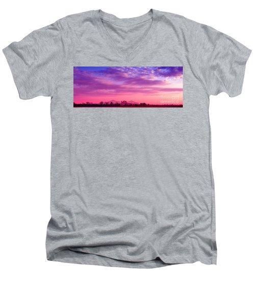Mississippi River Bridge At Twilight Men's V-Neck T-Shirt
