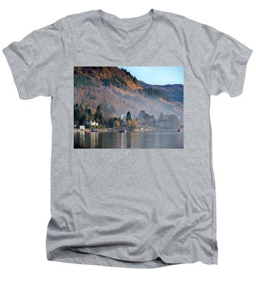 Men's V-Neck T-Shirt featuring the photograph Misty Autumn Morning by Lynn Bolt