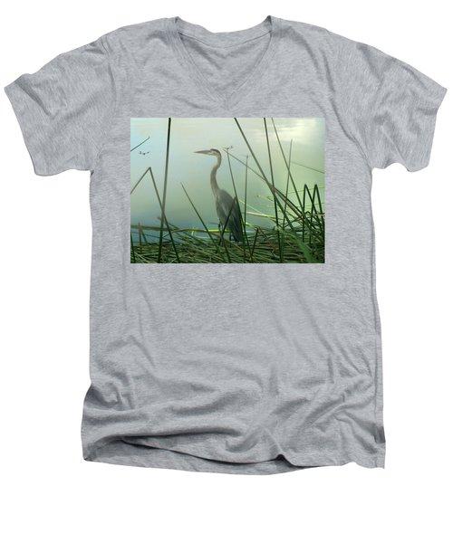 Misty Blue Men's V-Neck T-Shirt