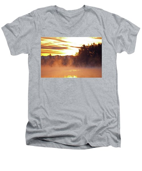 Misty Sunrise Men's V-Neck T-Shirt by Tikvah's Hope