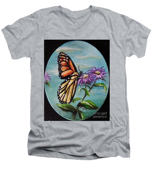 Men's V-Neck T-Shirt featuring the painting Monarch And Aster by Karen  Ferrand Carroll