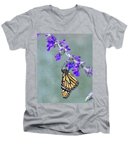 Monarch On Purple Men's V-Neck T-Shirt