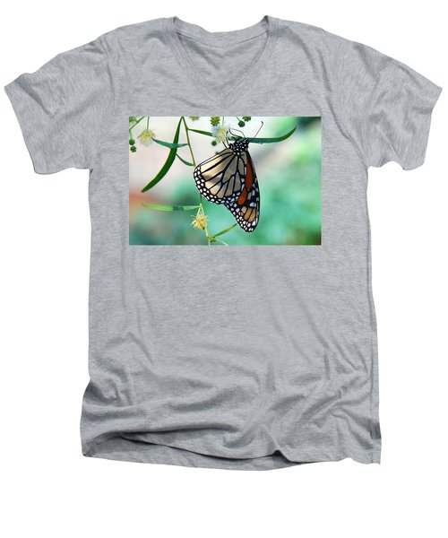 Men's V-Neck T-Shirt featuring the photograph Monarch by Tam Ryan