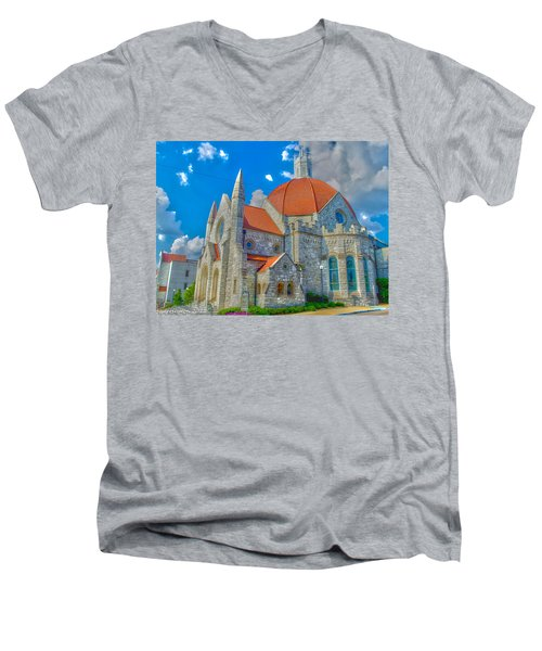 Montgomery Baptist Church Hdr Men's V-Neck T-Shirt by Shannon Harrington