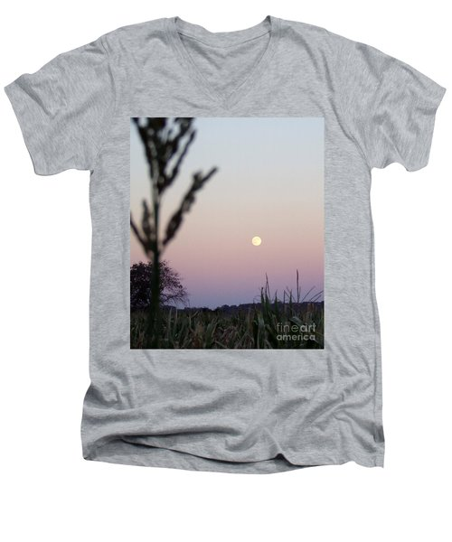 Men's V-Neck T-Shirt featuring the photograph Moon by Andrea Anderegg
