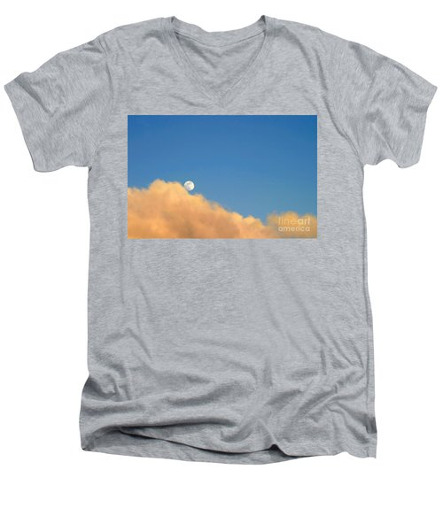 Moon At Sunset Men's V-Neck T-Shirt