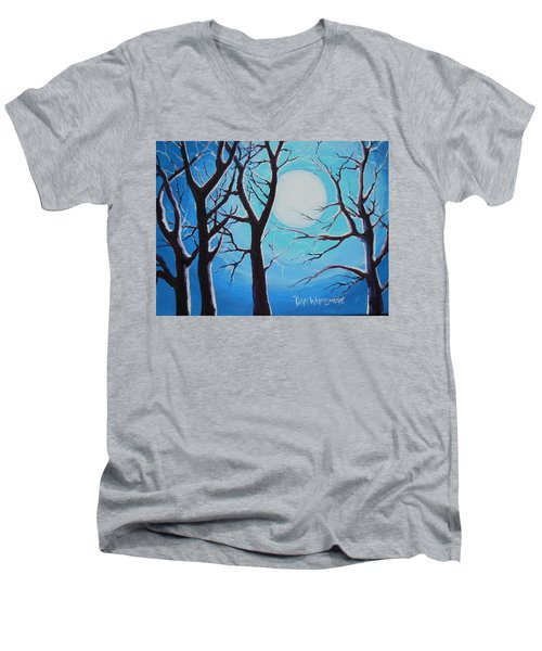 Men's V-Neck T-Shirt featuring the painting Moon Light by Dan Whittemore