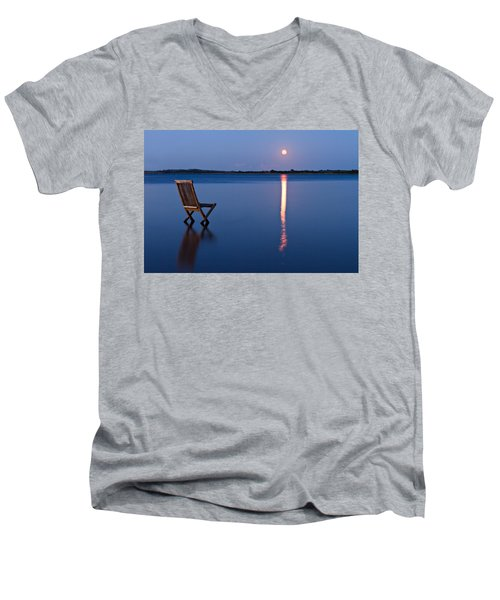 Men's V-Neck T-Shirt featuring the photograph Moon View by Gert Lavsen