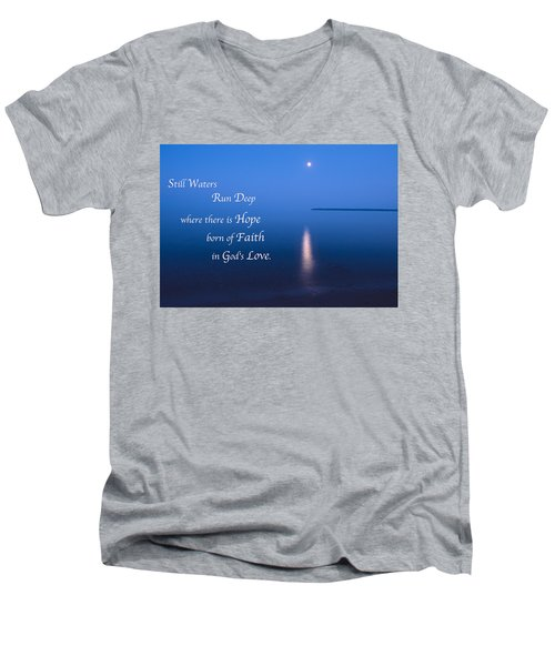 Moonrise On Lake Superior With Quote Men's V-Neck T-Shirt