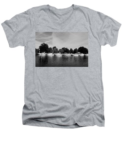 Men's V-Neck T-Shirt featuring the photograph Mooring Line by Maj Seda