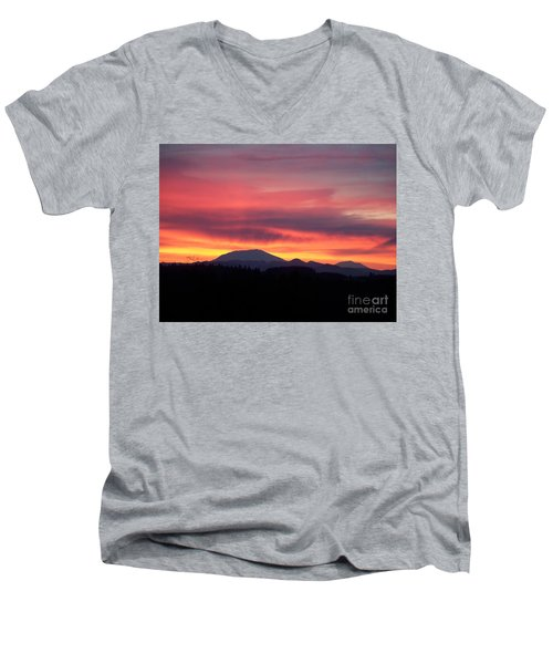 Men's V-Neck T-Shirt featuring the photograph Morning Glow by Chalet Roome-Rigdon