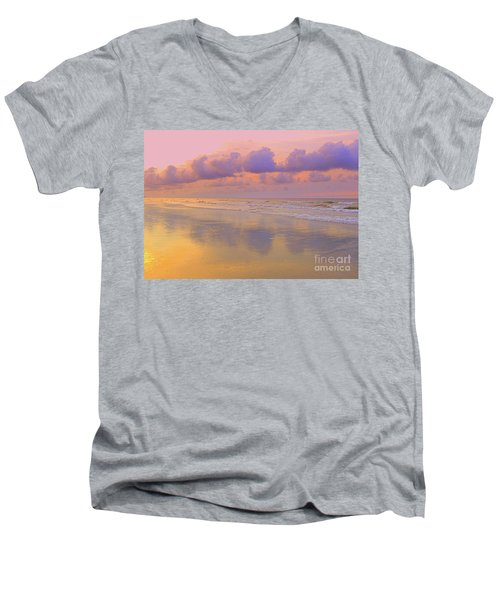 Men's V-Neck T-Shirt featuring the photograph Morning On The Beach  by Lydia Holly