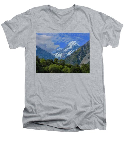 Men's V-Neck T-Shirt featuring the photograph Mount Cook by David Gleeson