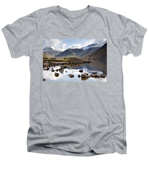 Men's V-Neck T-Shirt featuring the photograph Mountains And Lake At Lake District by John Short