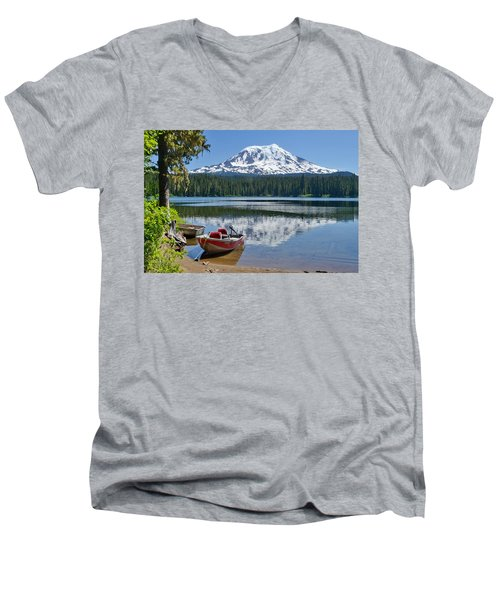 Mt Adams At The Lake Men's V-Neck T-Shirt