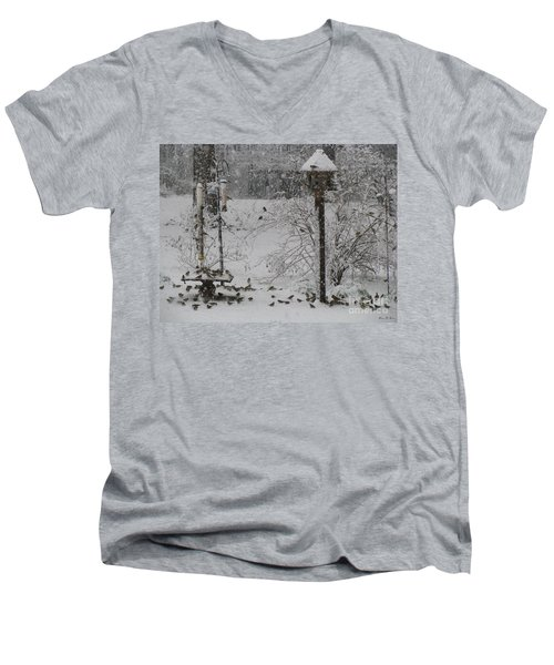 Men's V-Neck T-Shirt featuring the photograph My Backyard by Donna Brown