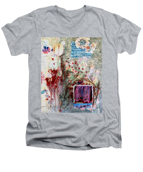 Men's V-Neck T-Shirt featuring the mixed media My Stage by Sandy McIntire