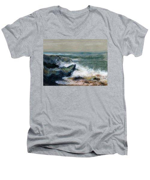 Nature Beach Landscape Of Sea In Storm Blue Green Water White Wave Breaks On Rock Clouds In Sky  Men's V-Neck T-Shirt by Rachel Hershkovitz