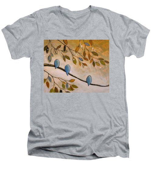 Men's V-Neck T-Shirt featuring the painting Nature Birds Painting...peaceful Garden by Amy Giacomelli