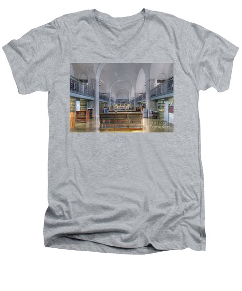 Men's V-Neck T-Shirt featuring the photograph Nebraska State Capitol Library by Art Whitton