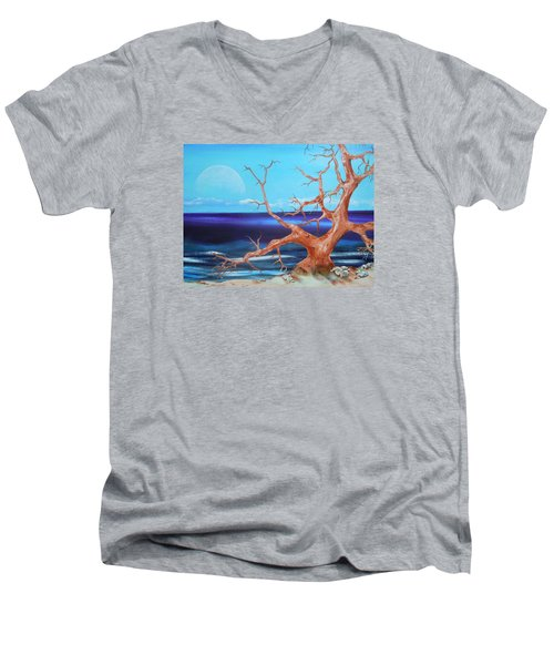 Men's V-Neck T-Shirt featuring the painting Never Alone by Dan Whittemore