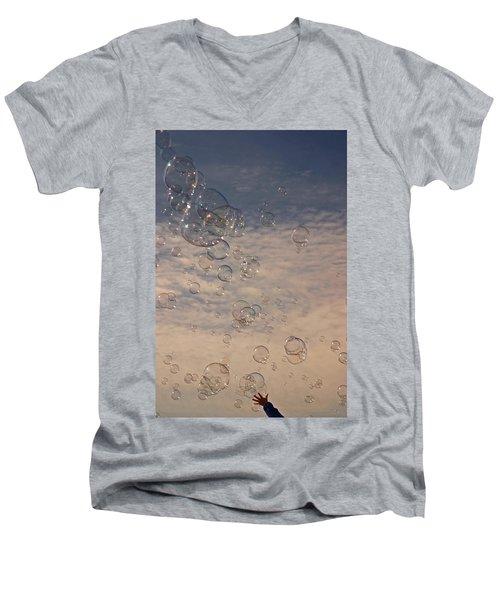 Never Give Up Men's V-Neck T-Shirt by Jeannette Hunt