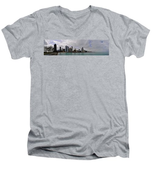 Men's V-Neck T-Shirt featuring the photograph North Of Navy Pier From The Series Chicago Skyline by Verana Stark