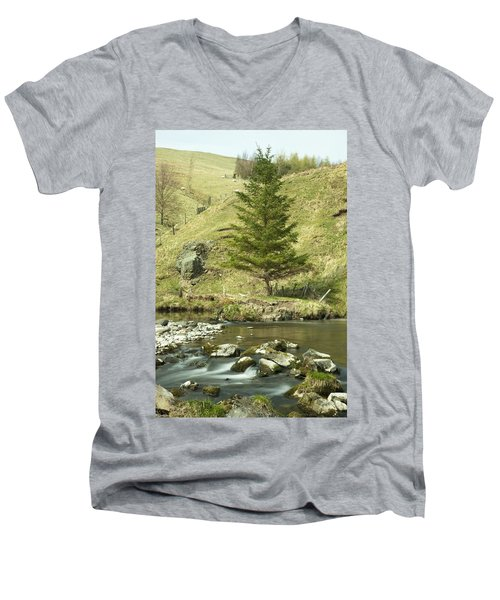 Men's V-Neck T-Shirt featuring the photograph Northumberland, England A River Flowing by John Short