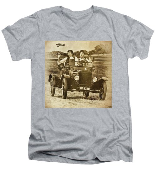 Not Likely Laurel And Hardly Hardy Men's V-Neck T-Shirt