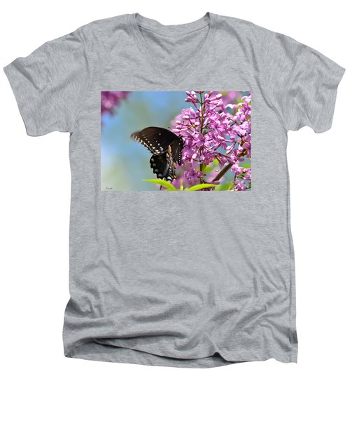 Nothing Says Spring Like Butterflies And Lilacs Men's V-Neck T-Shirt
