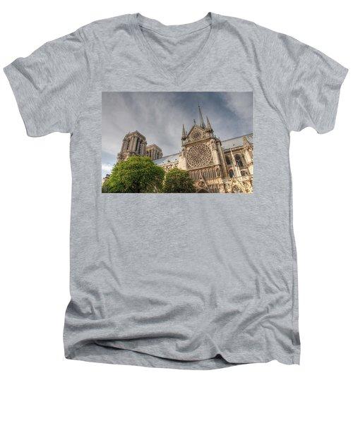 Men's V-Neck T-Shirt featuring the photograph Notre Dame De Paris by Jennifer Ancker
