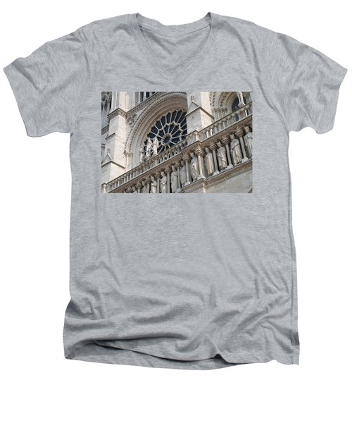 Men's V-Neck T-Shirt featuring the photograph Notre Dame Details by Jennifer Ancker