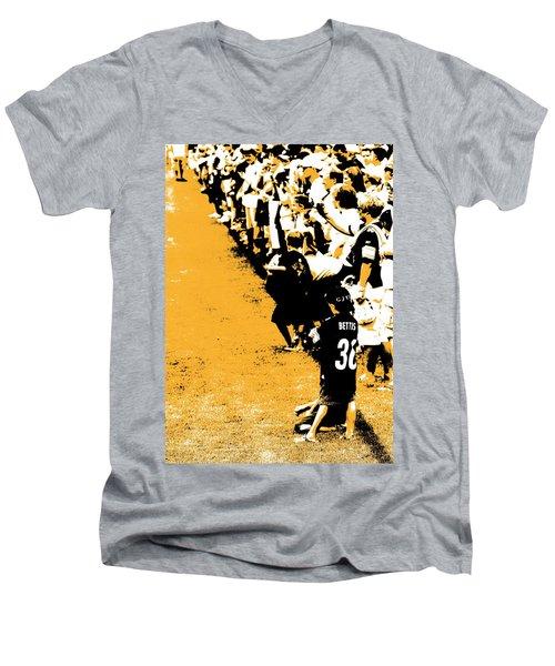 Number 1 Bettis Fan - Black And Gold Men's V-Neck T-Shirt