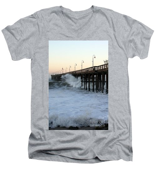 Ocean Wave Storm Pier Men's V-Neck T-Shirt