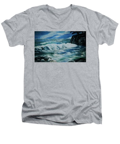 Men's V-Neck T-Shirt featuring the painting Ocean Waves by Christy Saunders Church