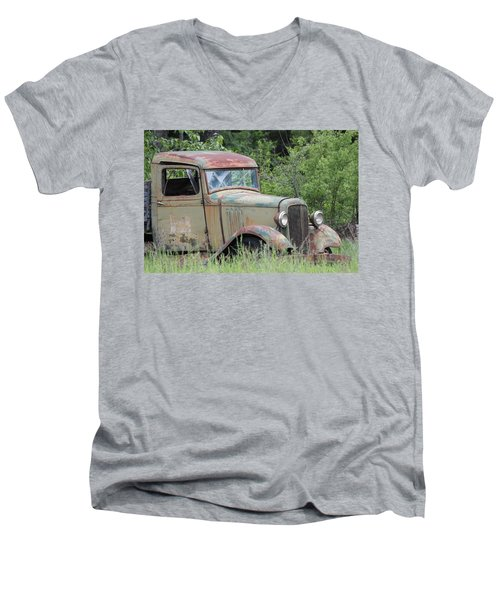 Men's V-Neck T-Shirt featuring the photograph Abandoned Truck In Field by Athena Mckinzie
