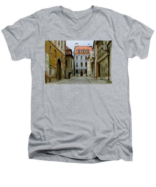 Men's V-Neck T-Shirt featuring the photograph Old Street In Bratislava by Les Palenik
